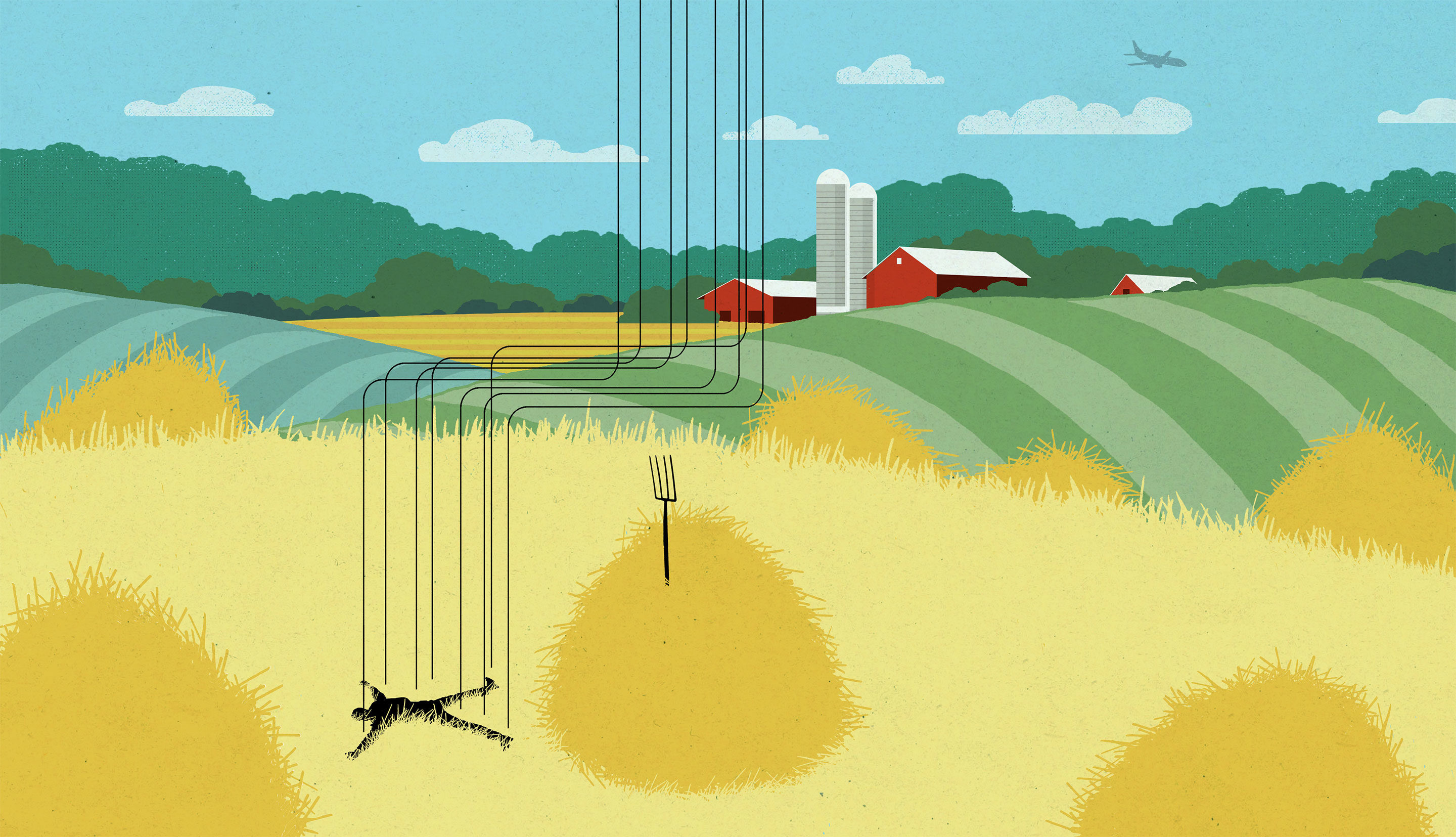Lede illustration of a man falling and missing a hay stack to land on.