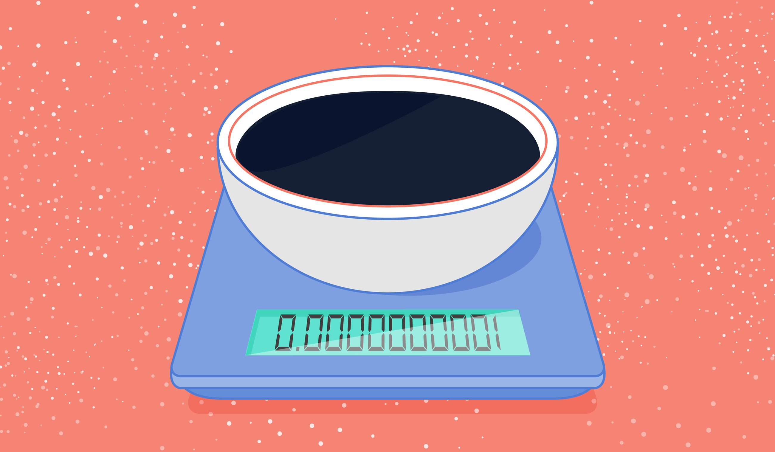Illustration of a bowl of dark energy on a weighing scale