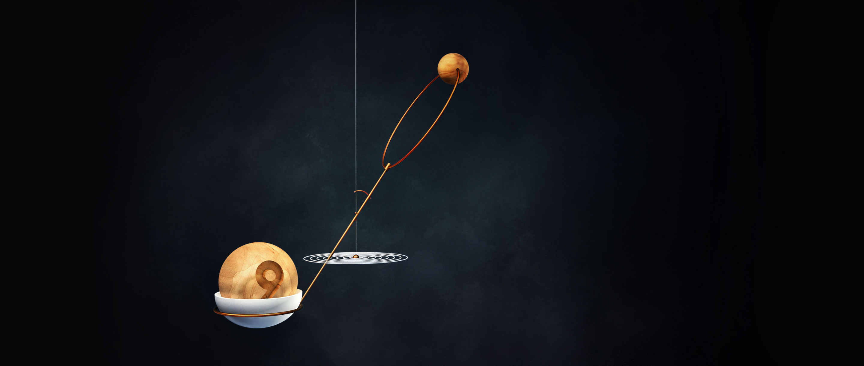 "Illustration of a hanging mobile with ""Planet 9"" weighing down 2015 BP519's orbit, thus tilting it."
