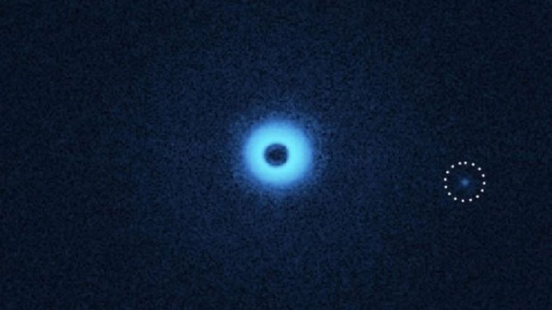 nfrared image of the binary star system CS Cha viewed with special polarization filters that make dust disks and exoplanets visible