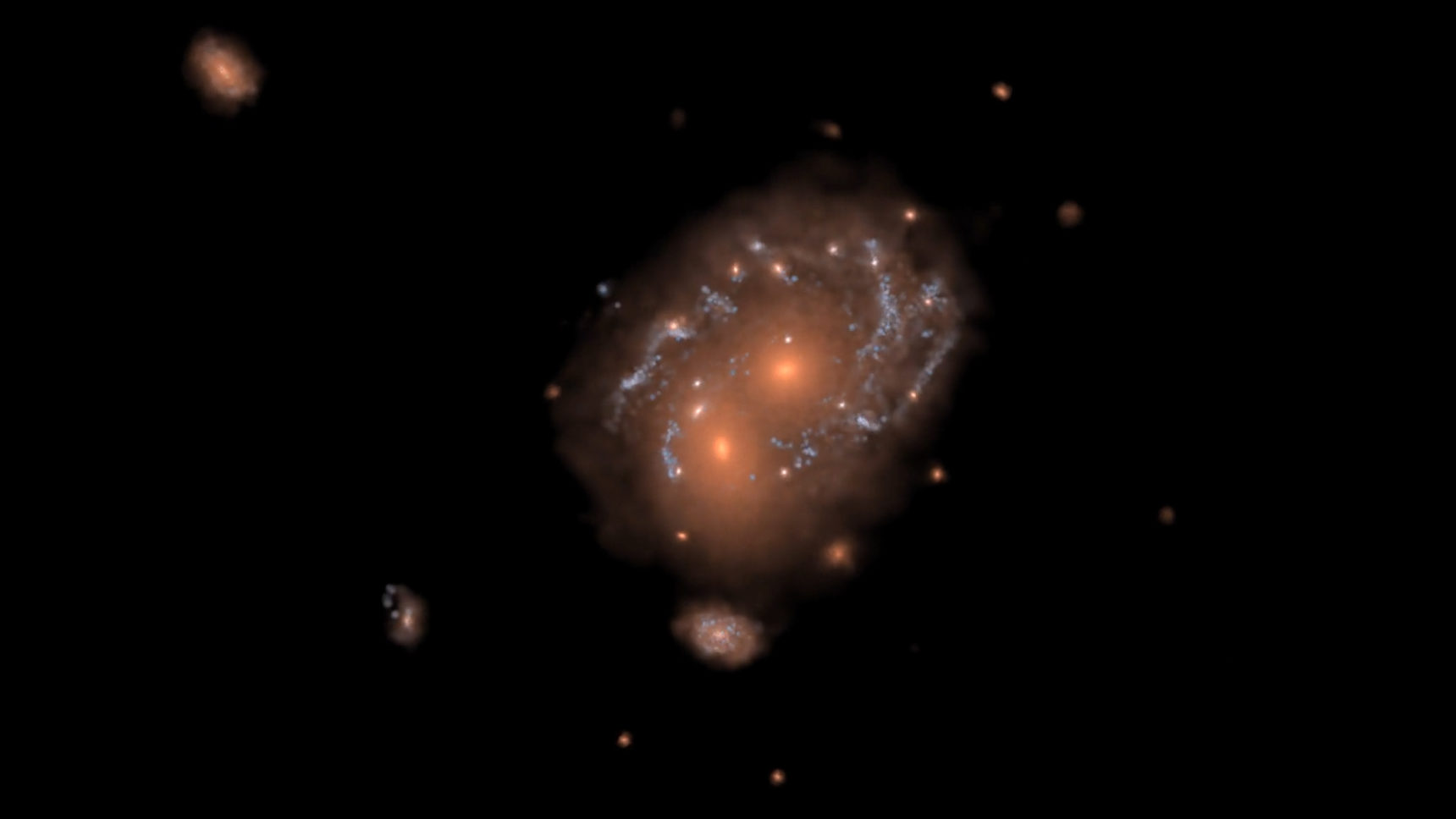 Video: The formation of a Milky Way-size disk galaxy and its merger with another galaxy in the IllustrisTNG simulation.