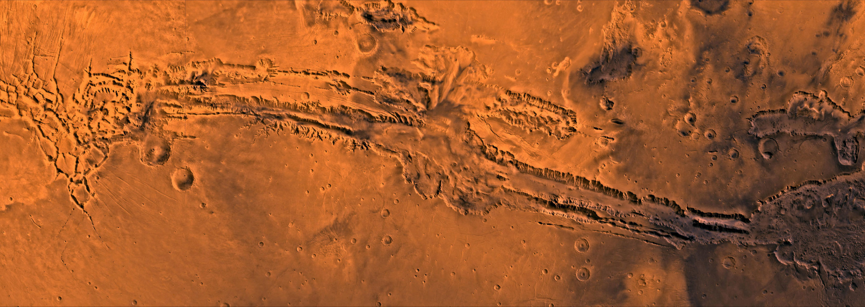 Aerial photo of a canyon on Mars.