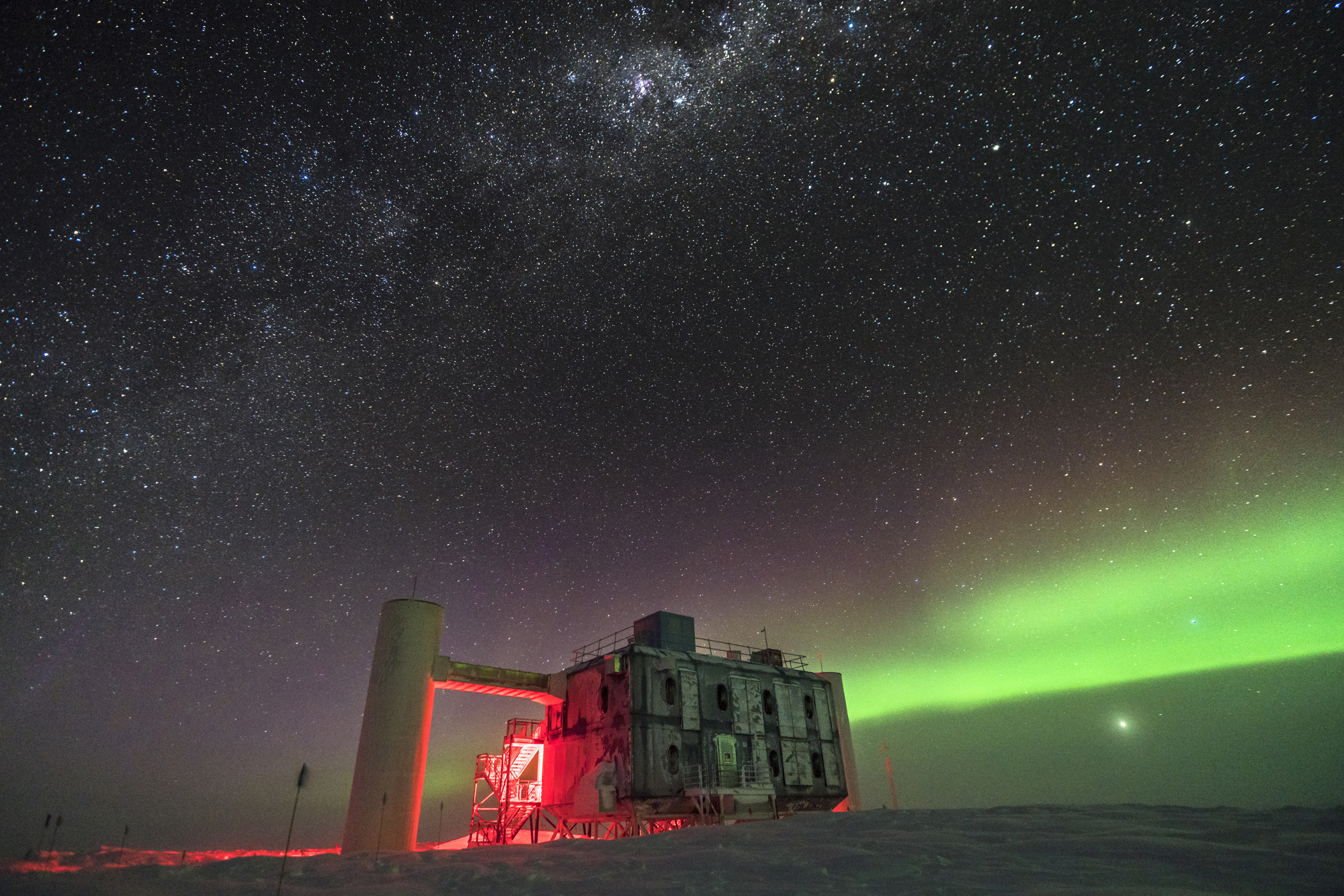 Photo of the IceCube Laboratory at the Amundsen-Scott South Pole Station, in Antarctica.