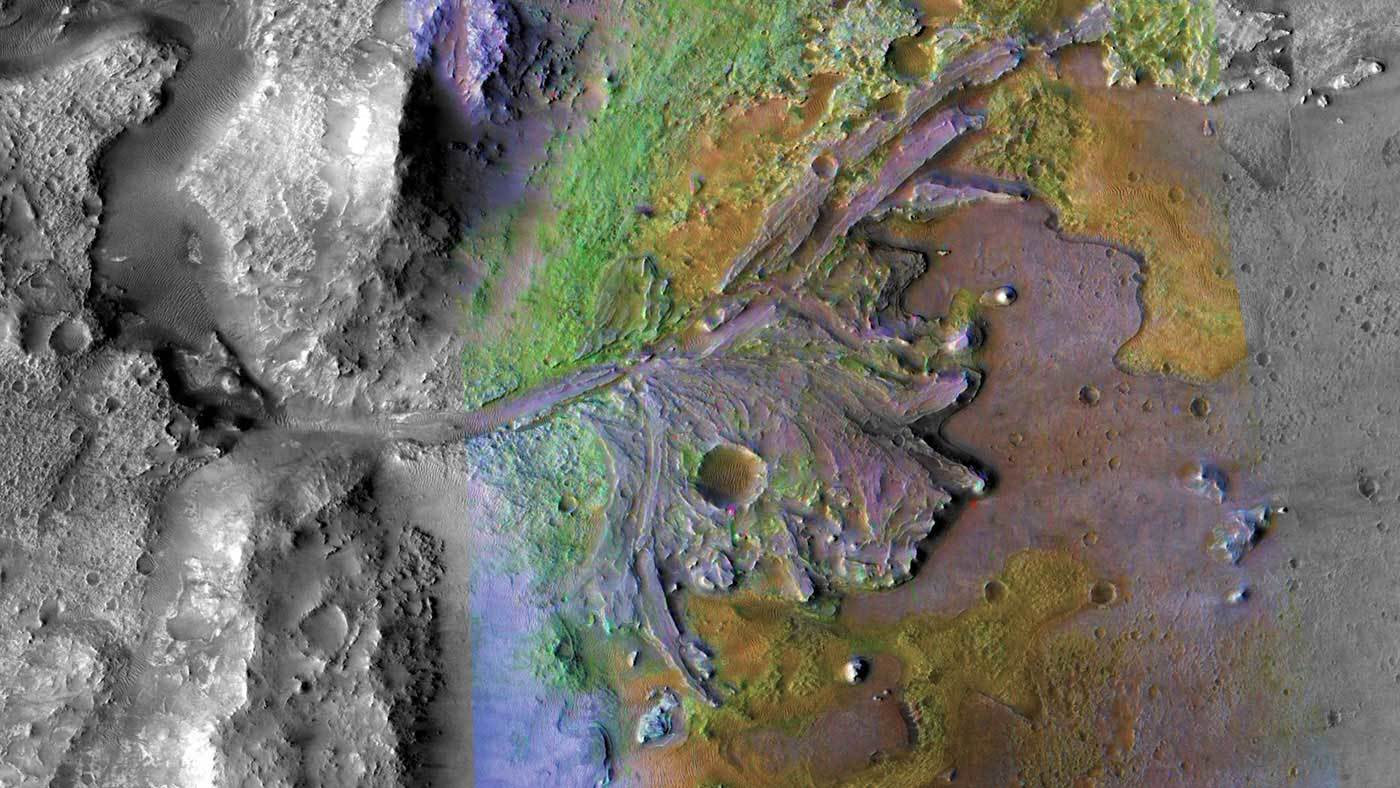 Photo of the Jezero Crater on Mars