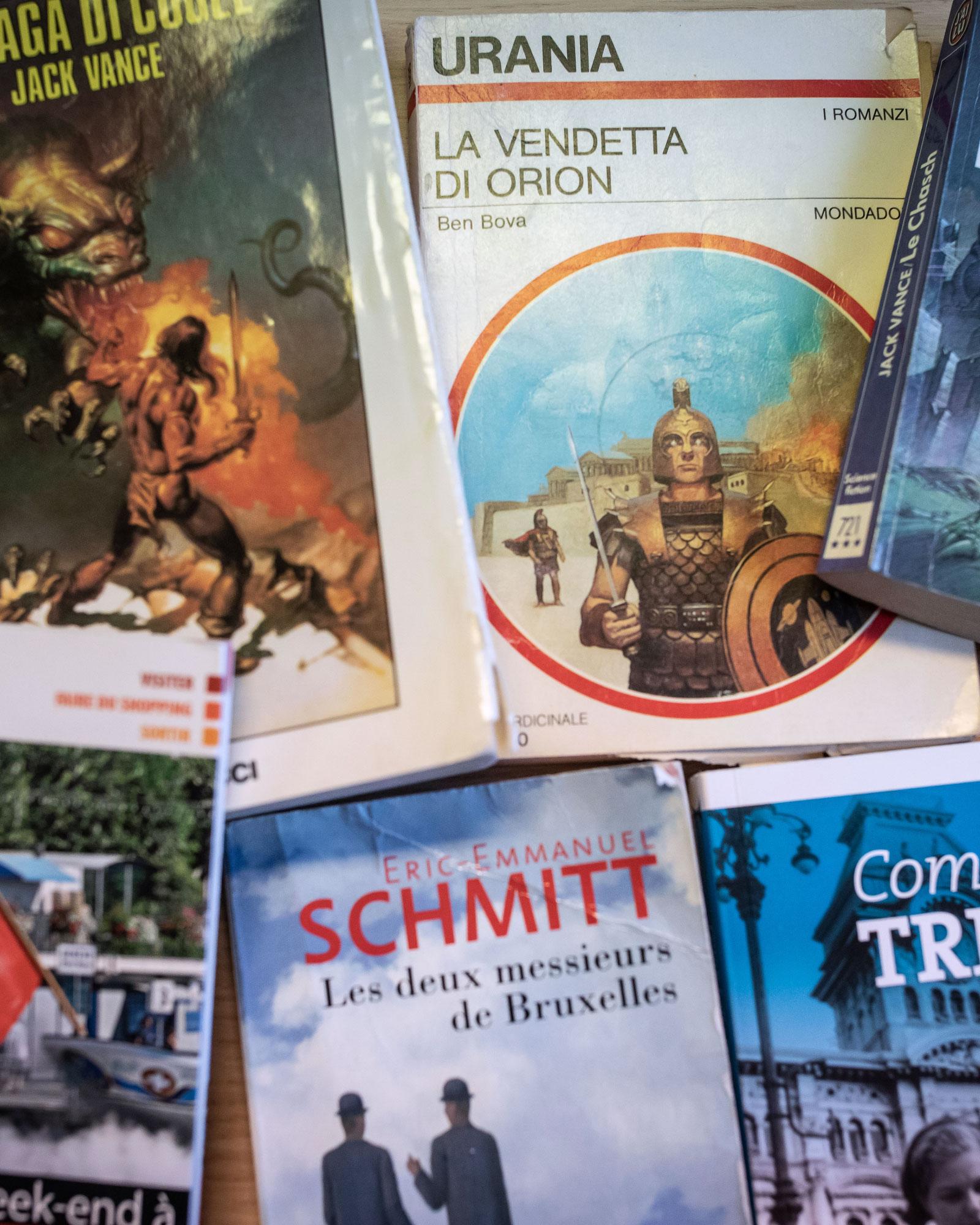 Some of Pettorino's favorite sci-fi books.