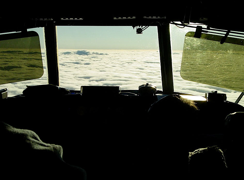 PHOTO: Stratocumulus clouds off the coast of Chile taken by mission scientist Robert Wood of University of Washington out of the cockpit of NCAR's C-130 research aircraft during the VOCALS experiment in 2008.