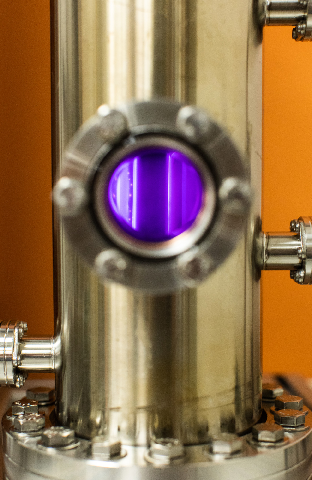 PHOTO: Inside the planetary atmospheric simulation chamber, various gasses get exposed to high-energy plasmas.