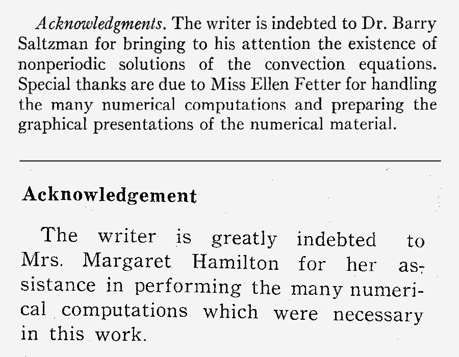 Acknowledgements of Ellen Fetter and Margaret Hamilton in Edward Lorenz' 1963 and 1962 papers