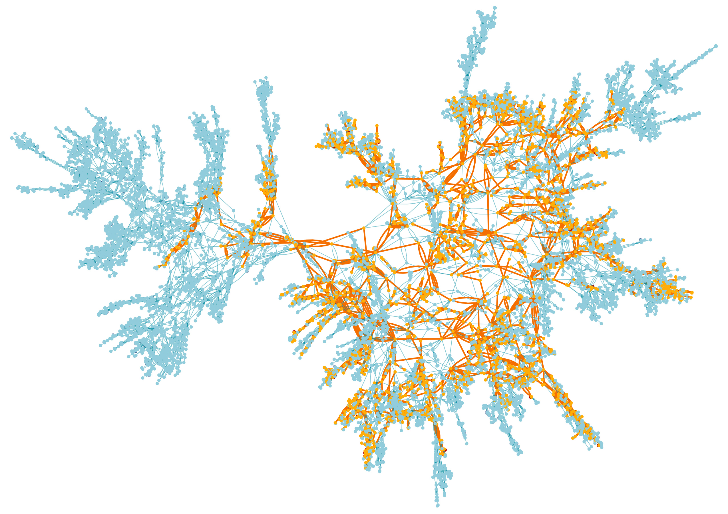 A map of the vertices in a random surface with the largest cluster highlighted in orange.