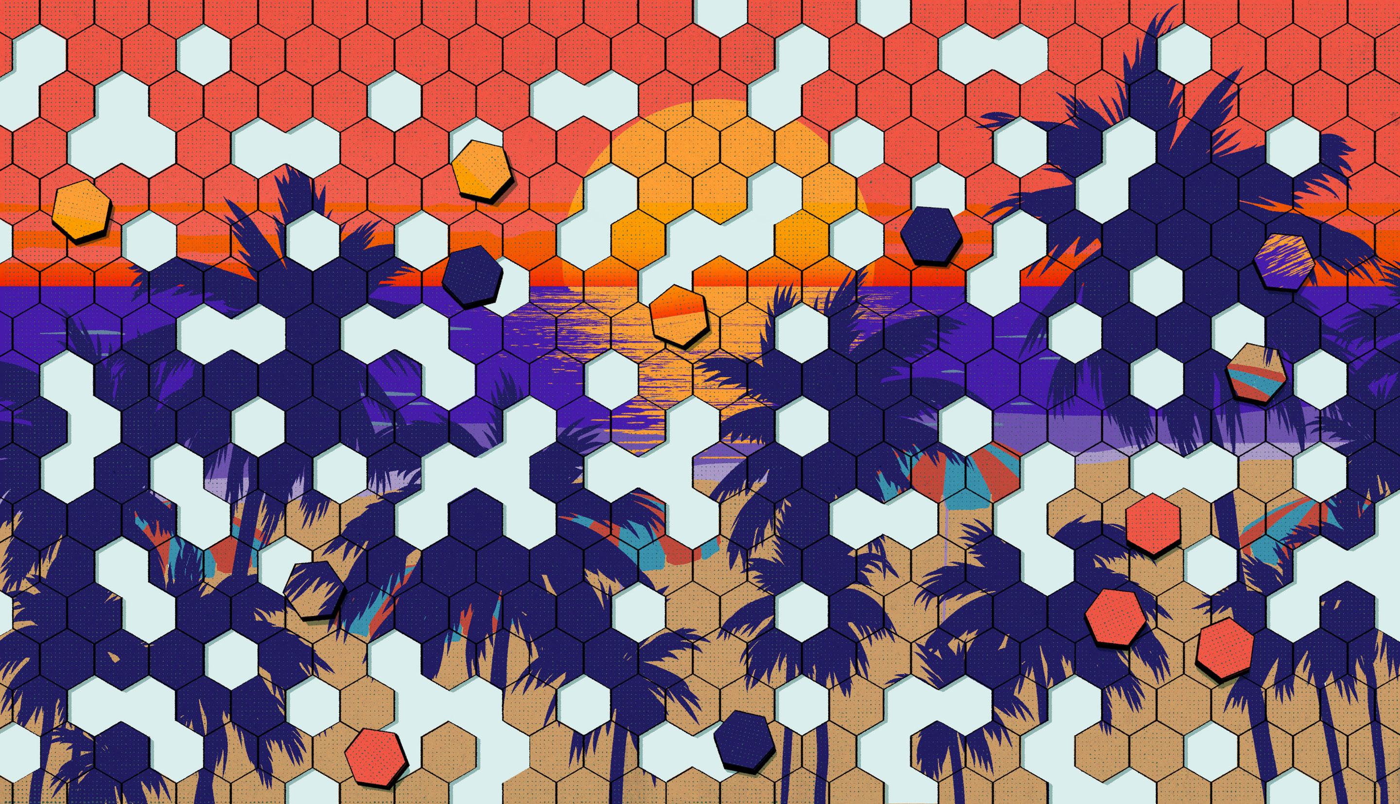 An illustration of a sunset beach scene turned into a puzzle.