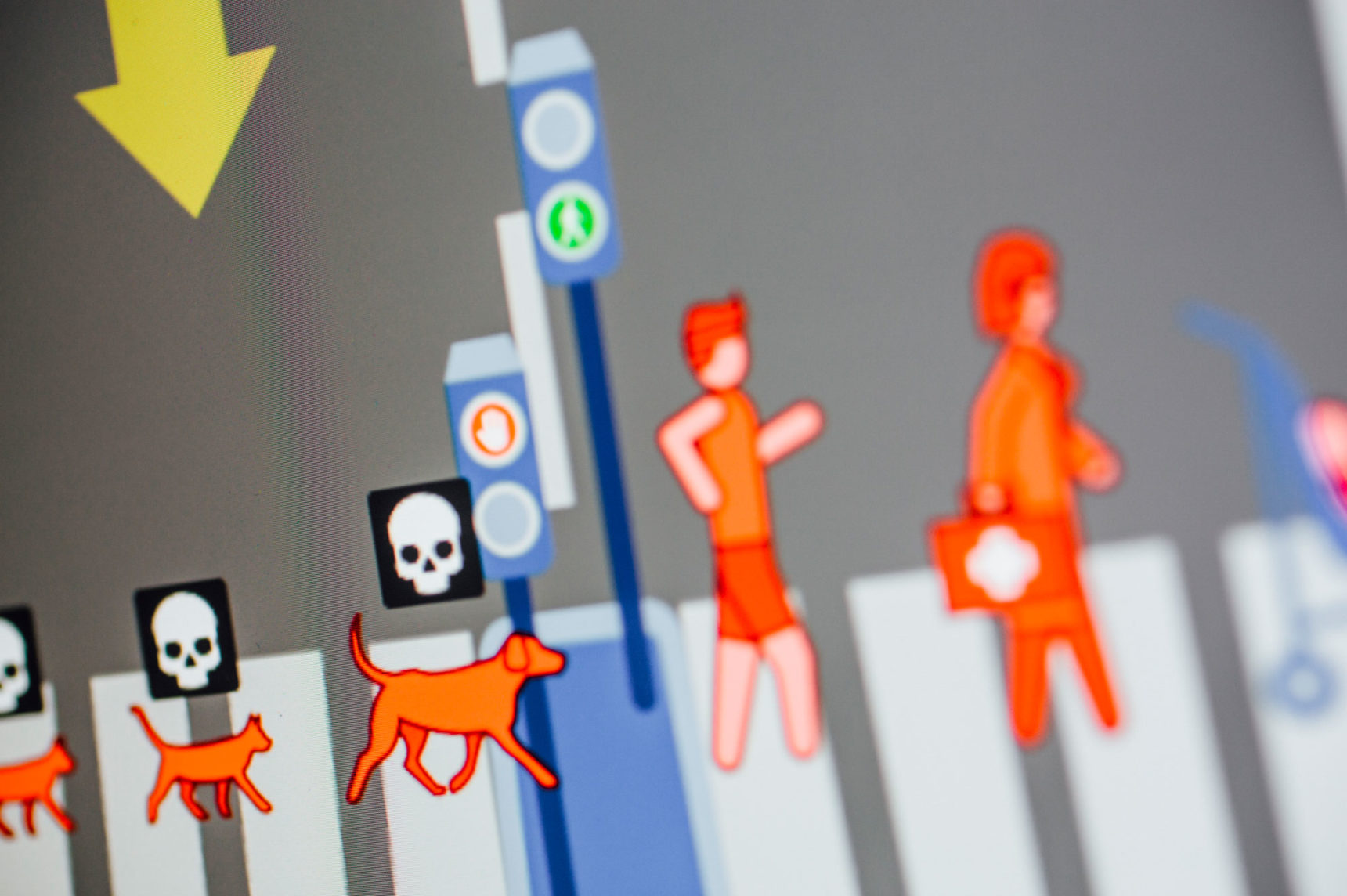 A screenshot of dogs and people from the moral machine experiment.
