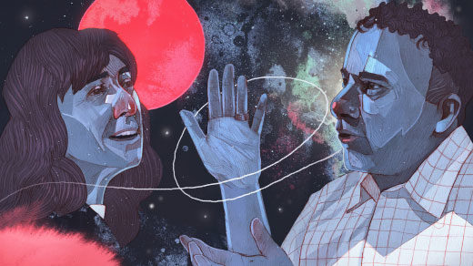 An illustration of the cosmologists Wendy Freedman and Adam Riess debating the expansion rate of the universe at a recent meeting at the Kavli Institute for Theoretical Physics in Santa Barbara, California.