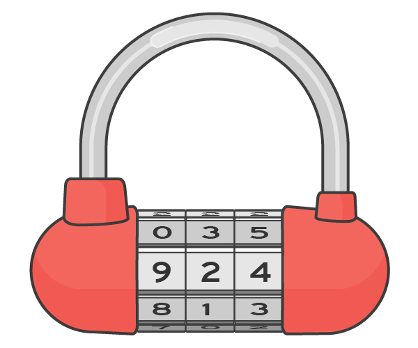 An illustration of a combination lock.