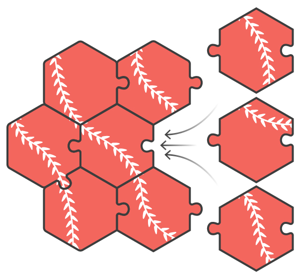 An illustration of three possible puzzle pieces fitting into an open spot.