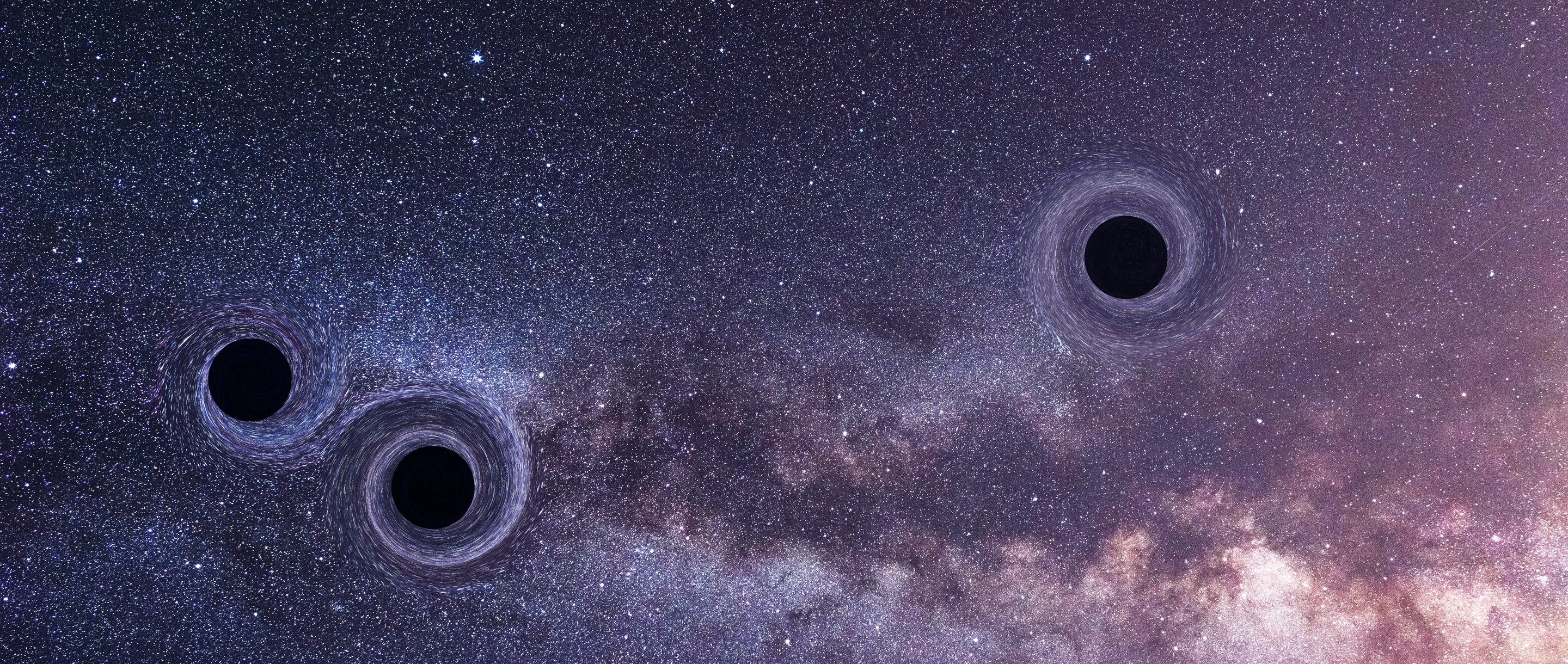 Illustration of three black holes on a starry background