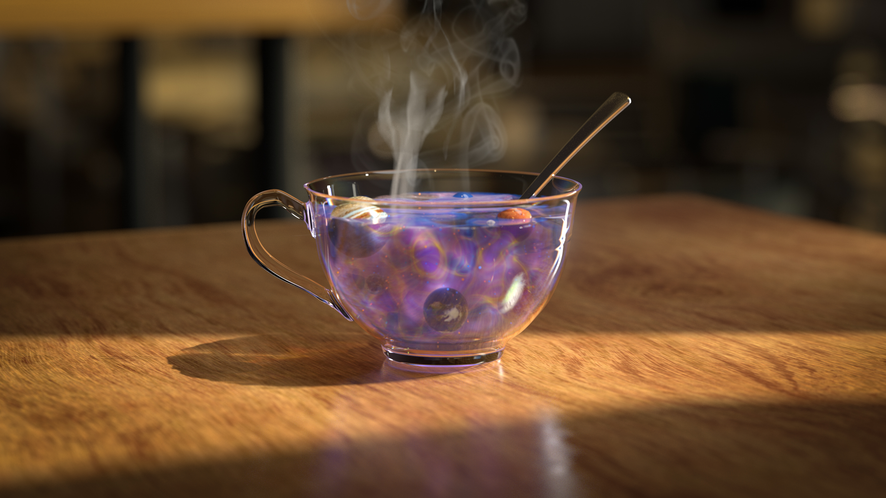 "Art for ""The Universal Law That Aims Time's Arrow"": a 3-D illustration of a clear glass coffee mug, filled with a mysterious purple and blue fluid, planets floating in it, with a spoon poking out the side. There is also steam rising from the cup's contents."
