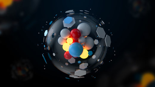 3D illustration of a complex atomic structure.