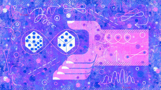 An illustration of a pink hand reaching for quantum dice.