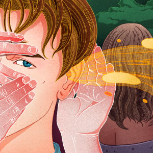 The illustration shows ghostly hands partially obstructing a person's sight and hearing.