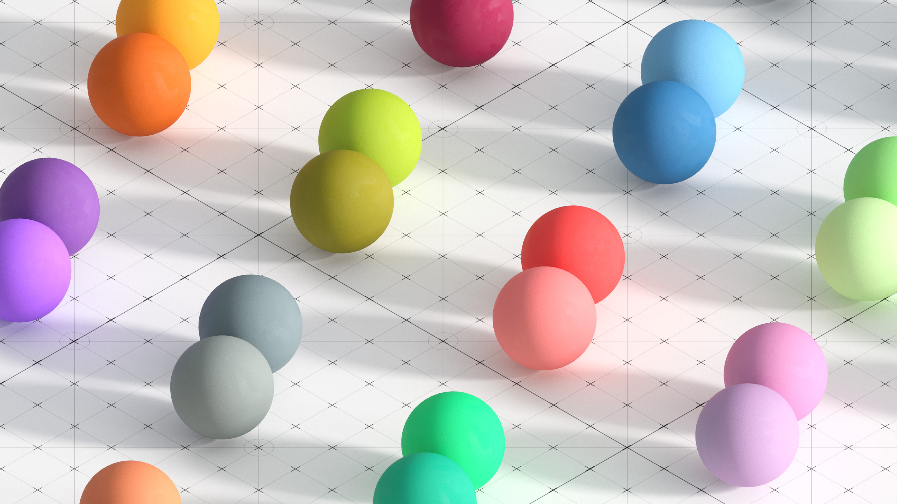 Colored spheres arranged in pairs.