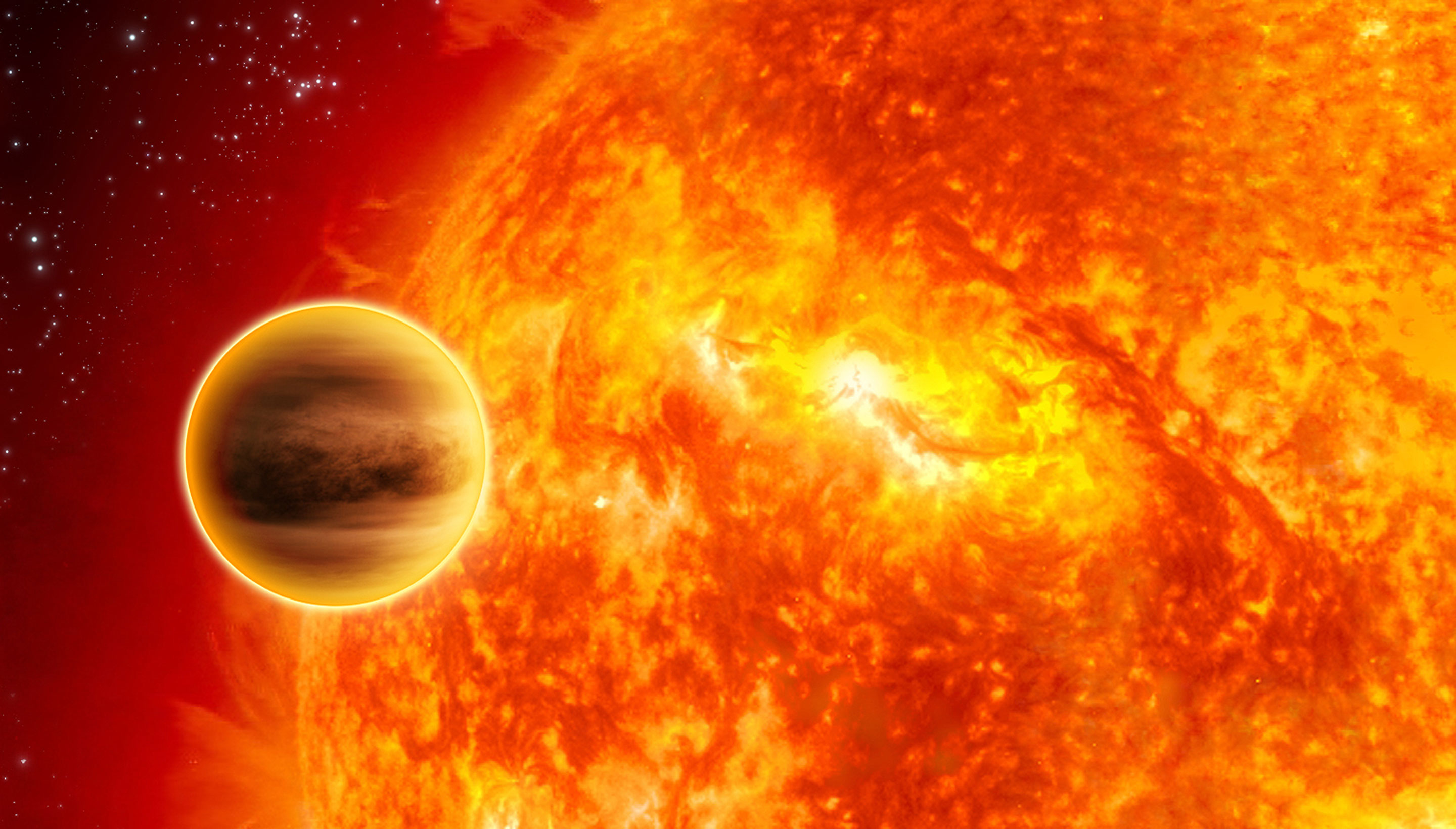 An illustration of a planet in front of a star.