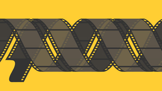 Illustration of two strips of movie film coiled around each other in a double helix.