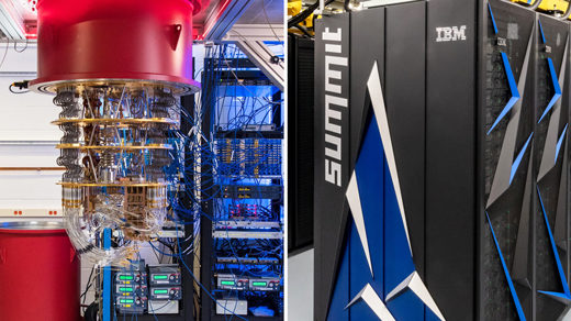 Photos of Google's quantum computer system on the left, IMB's supercomputer Summit on the right.