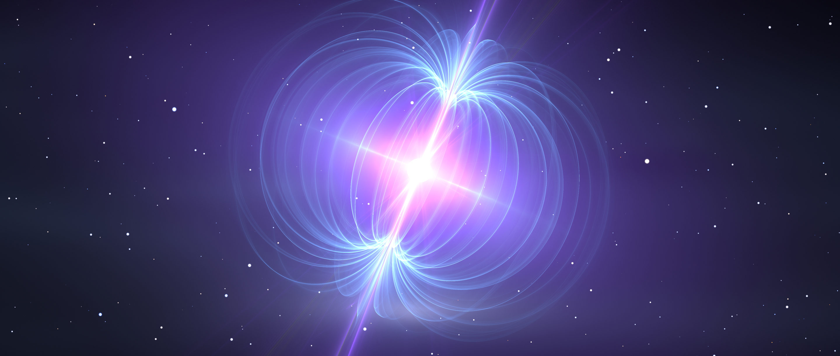 Illustration of a magnetar with blue magnetic field lines.
