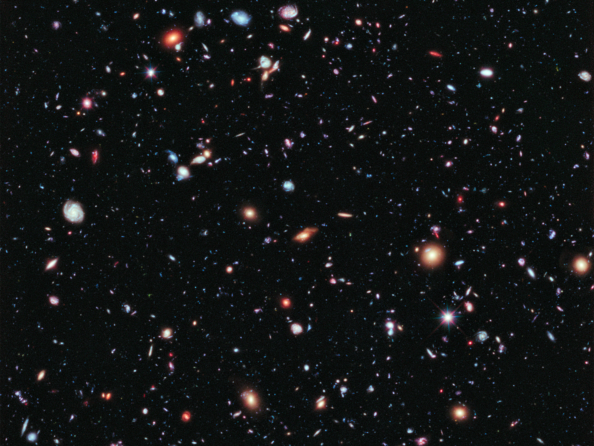 The Hubble Ultra-Deep Field image of galaxies in space.