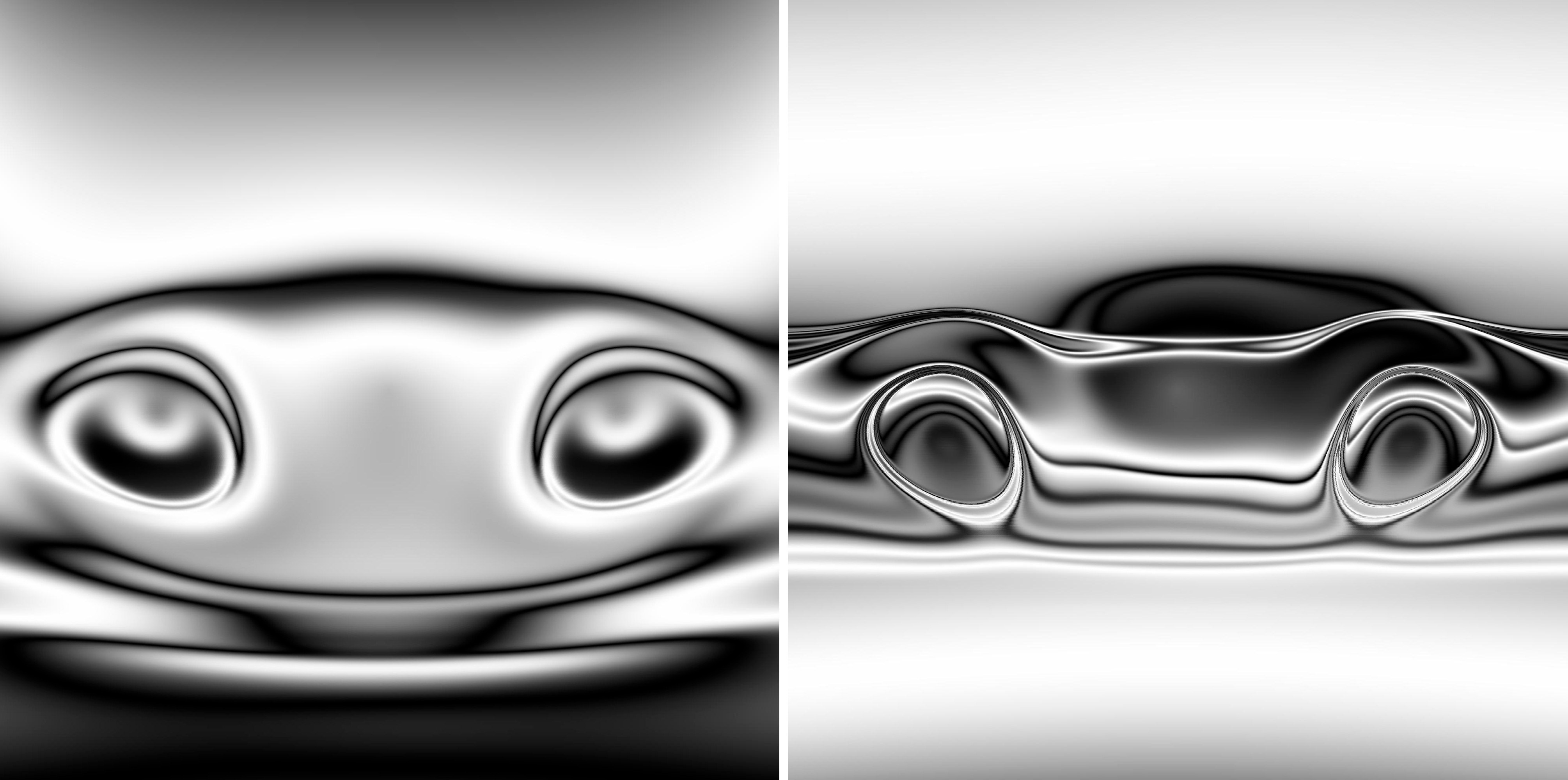 Alien and racecar abstract images.