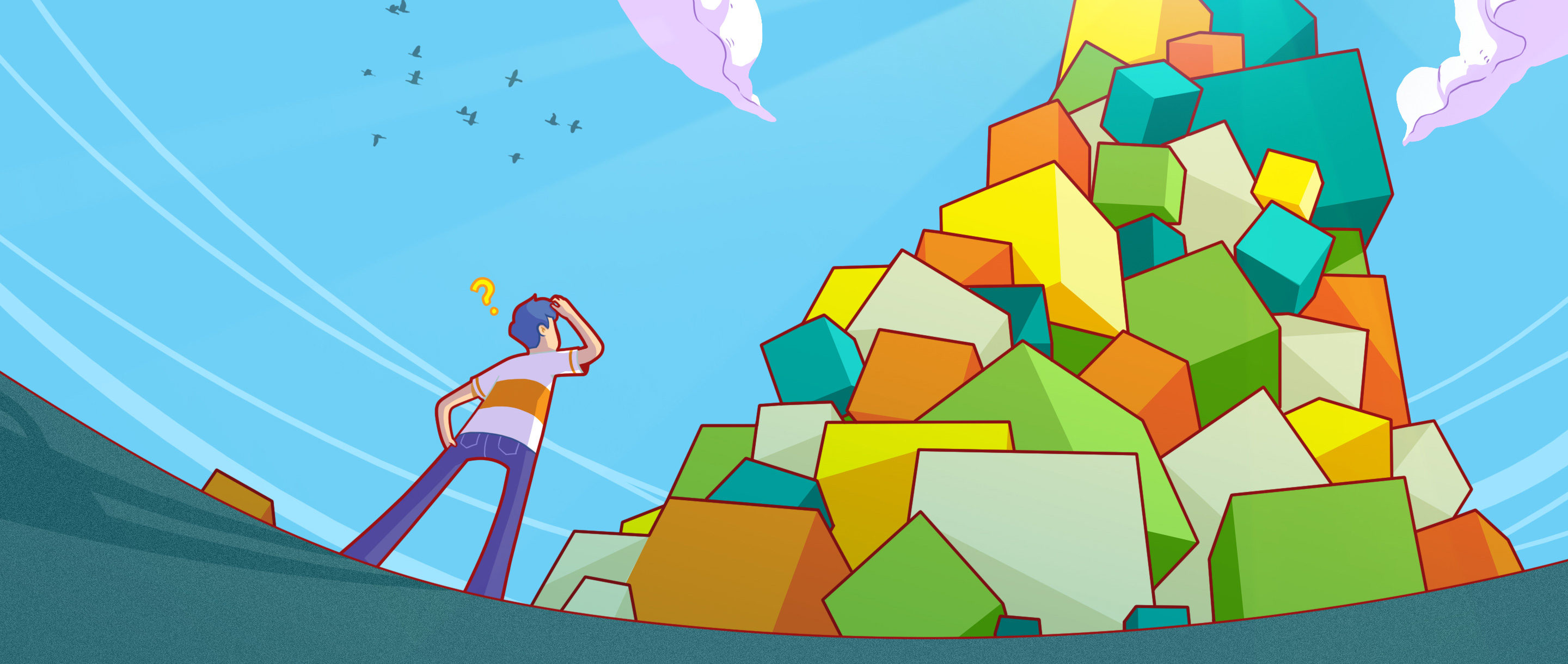 An illustration of a mathematician staring up at an infinite pile of cubes of varying sizes and colors.