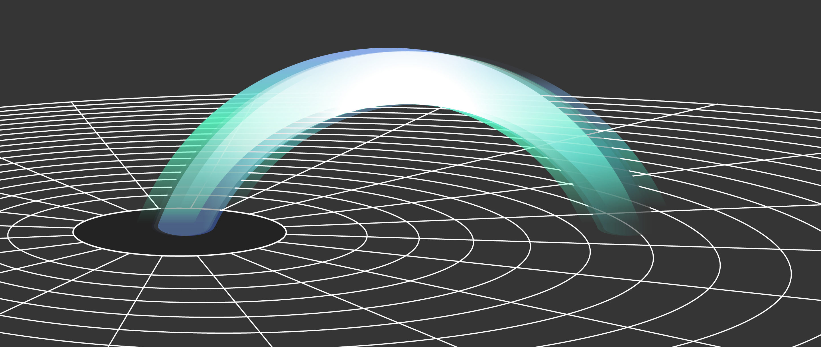 Illustration of a circle representing a black hole on a flat black plane with a multicolored bridge rising out of the plane and spanning from the inside to the outside of the circle.