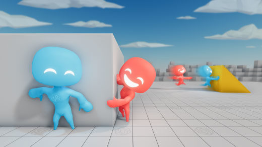 Animation showing virtual players hiding and seeking in a digital arena