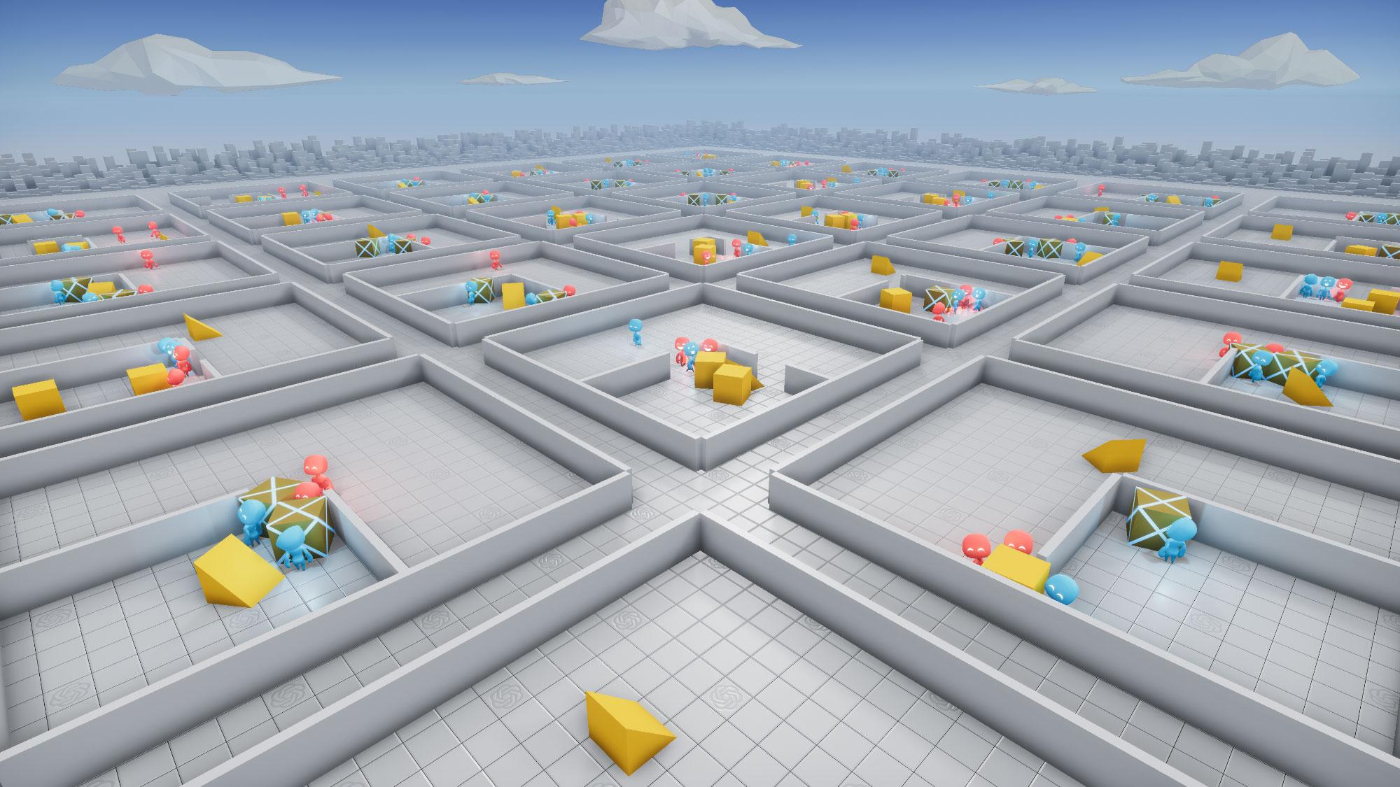 Rendering of multiple games of virtual hide-and-seek.