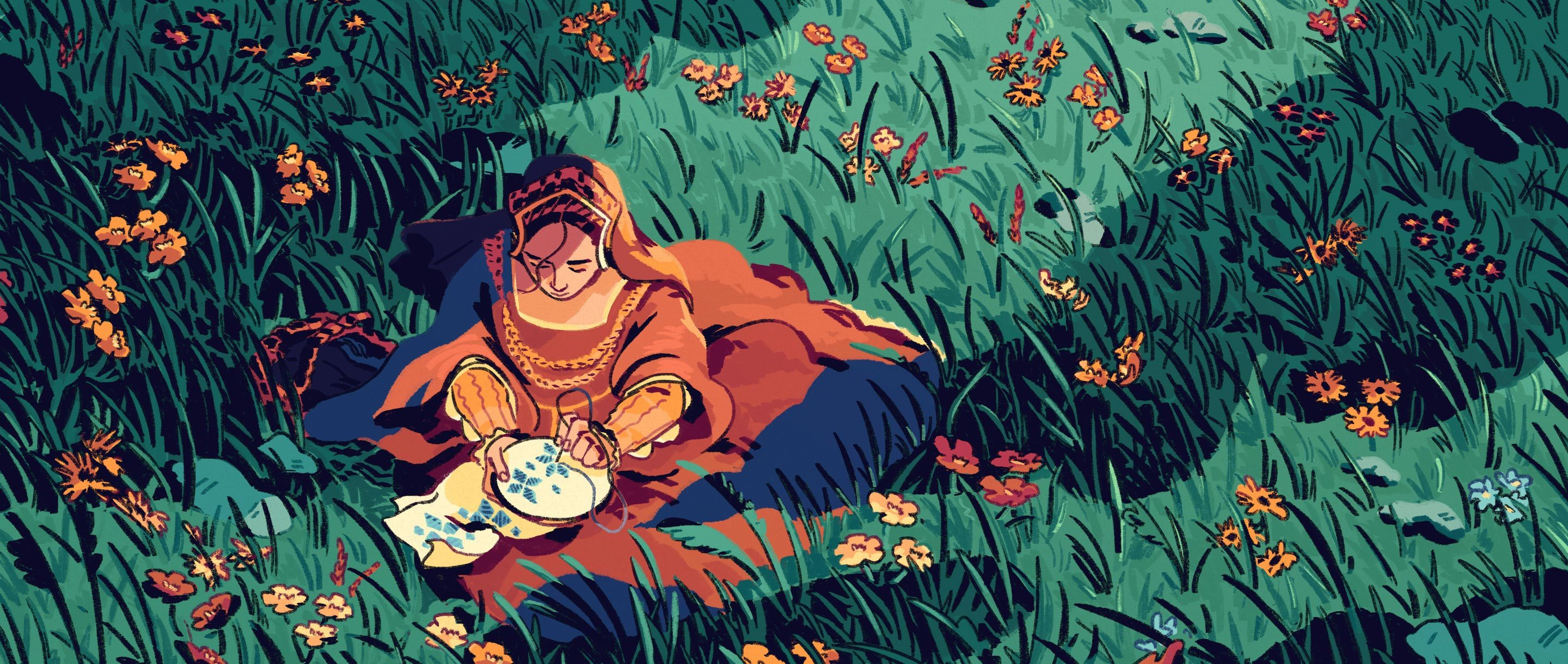 An illustration of a woman sitting in a field embroidering a flower pattern. Around her grow wildflowers that appear to be randomly distributed but whose colors reveal a hidden pattern.
