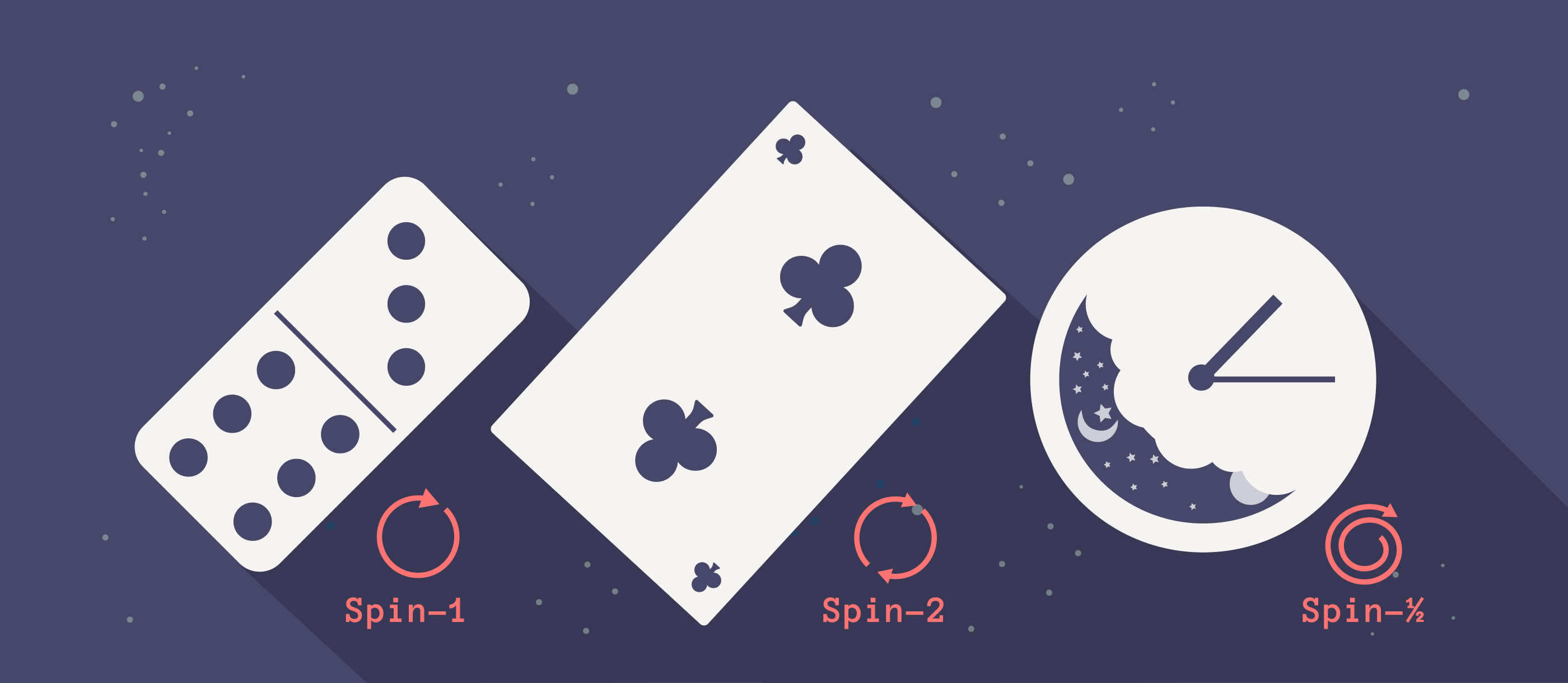 A domino, a two of clubs, and a clock face.