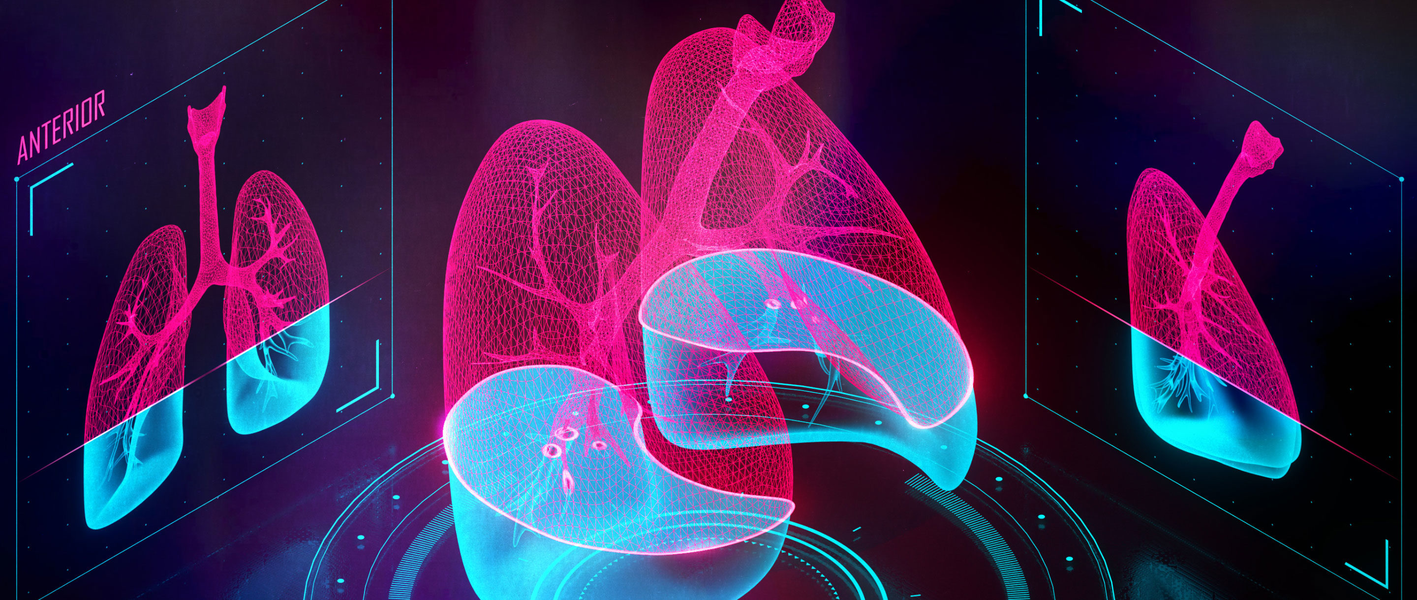 "Illustration of a pair of lungs being scanned in three dimensions, with a status bar that reads ""Scanning lung tissue: 60%."""