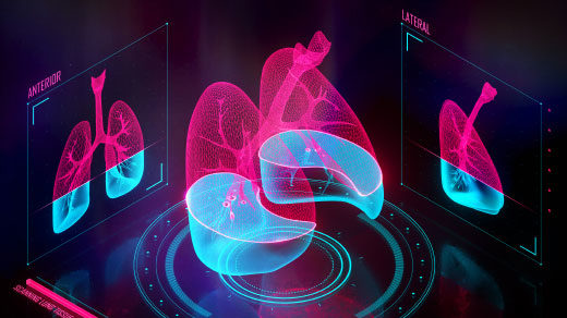 """Illustration of a pair of lungs being scanned in three dimensions, with a status bar that reads """"Scanning lung tissue: 60%."""""""