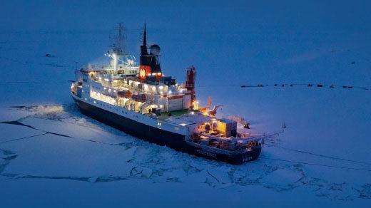 The Polarstern icebreaker in sea ice.