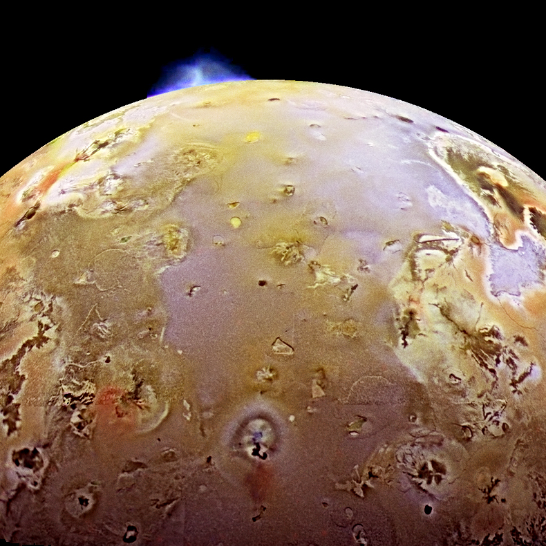 Volcanic eruptions on Jupiter's moon Io.