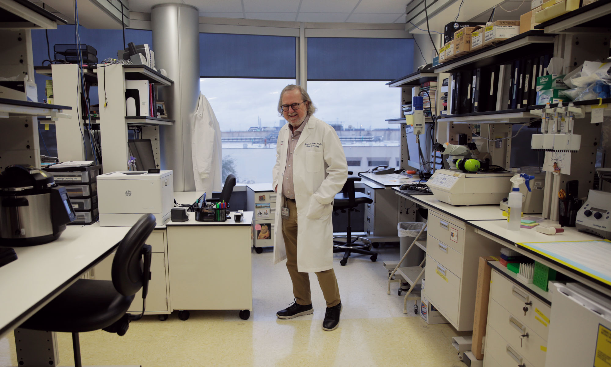 Jim Allison in his laboratory at MD Anderson Cancer Center in Houston.