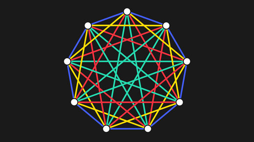 Animated demonstration of a colorful complete graph being tiled by a smaller tree