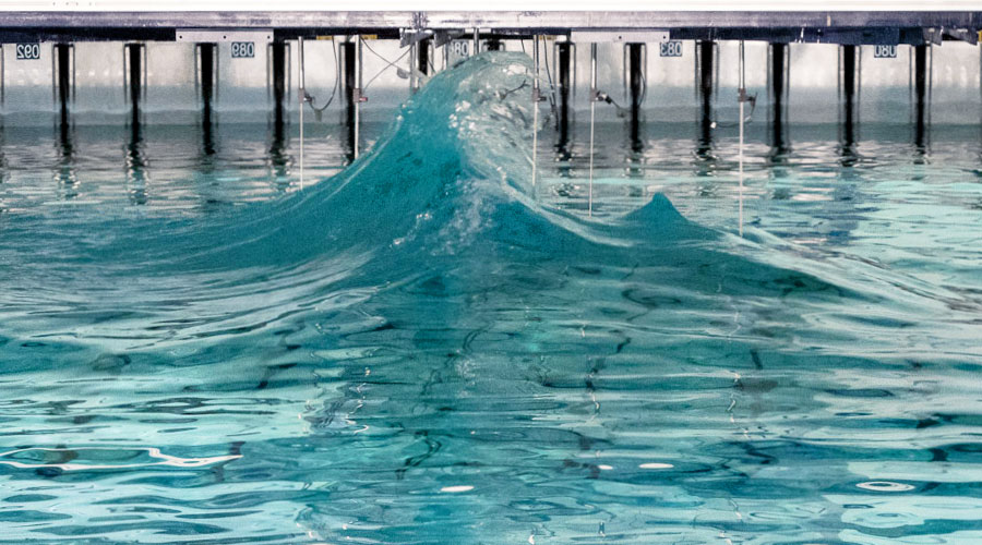 Wave simulation at the Flowave Ocean Research Energy Facility wave pool.