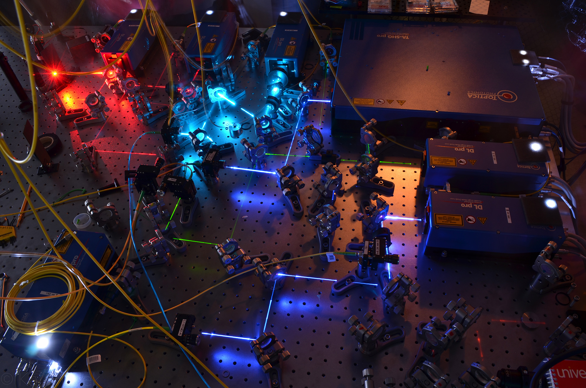 Lasers in a laboratory.