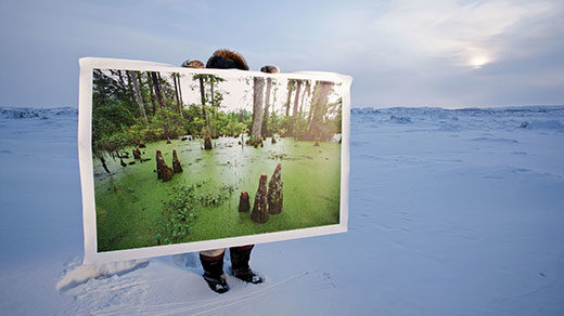 A man standing in the Arctic tundra holds up a large photo of a swamp.