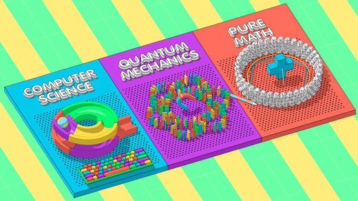 Animation showing toy-like depictions of computer science, quantum mechanics and pure math affecting each other.