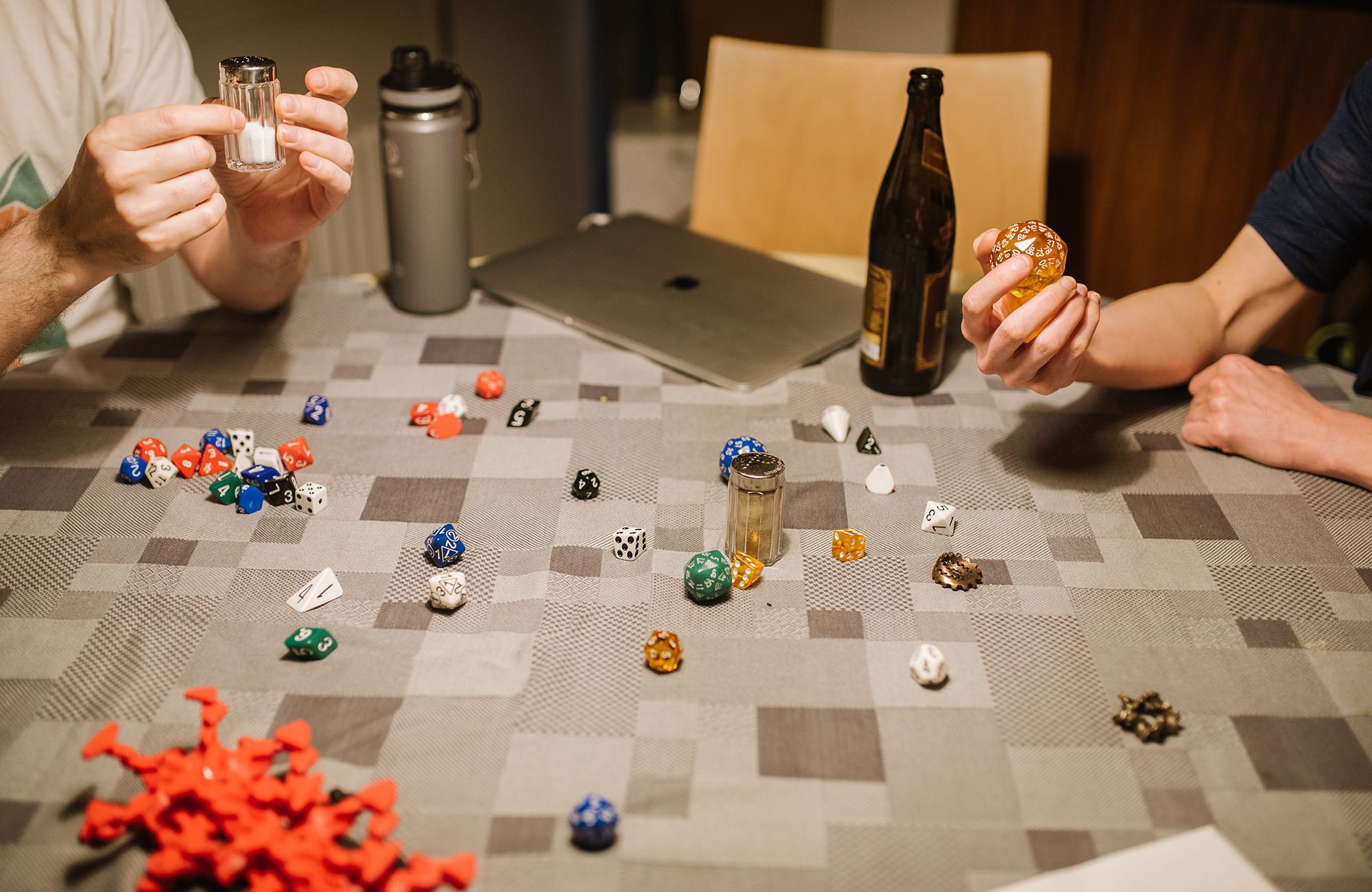 Photos showing mathematicians socializing and playing games