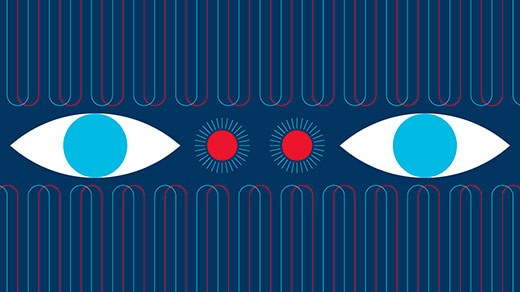 Animated illustration of flashing, moving wavelengths and strobing lights surrounding a pair of eyes.
