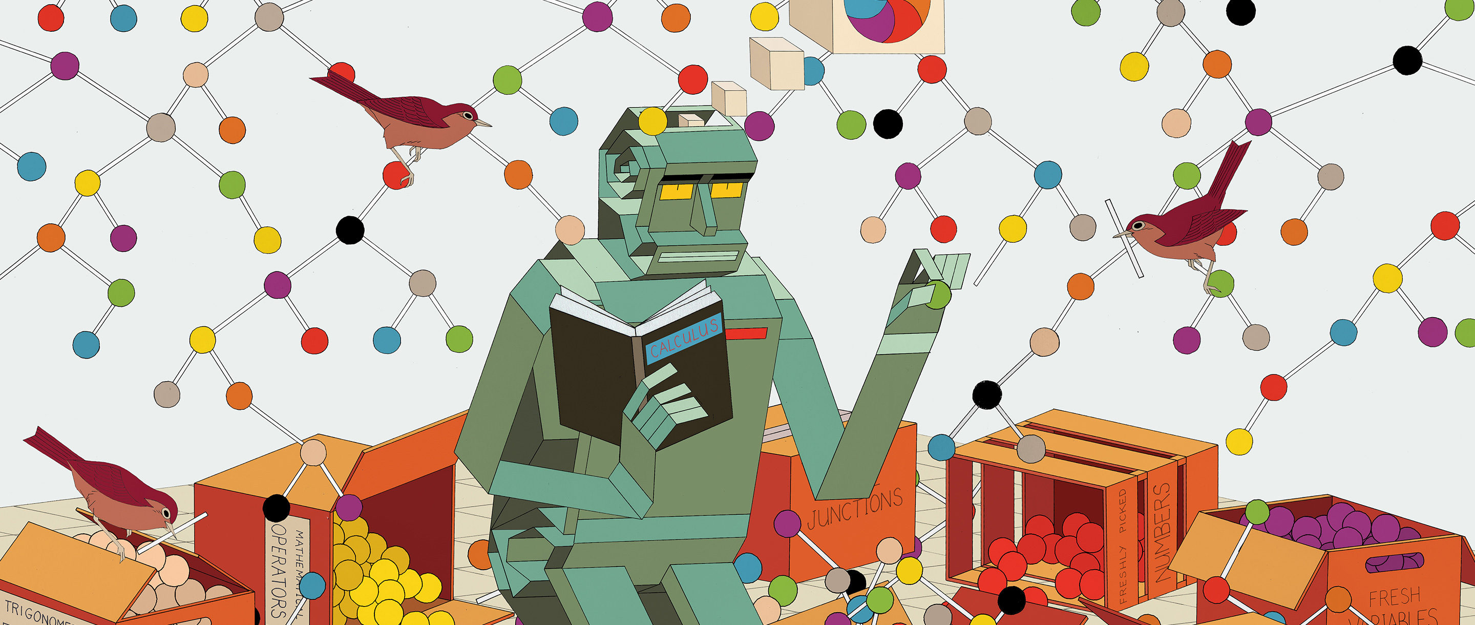 Illustration of a robot translating calculus into branching, tree-like structures