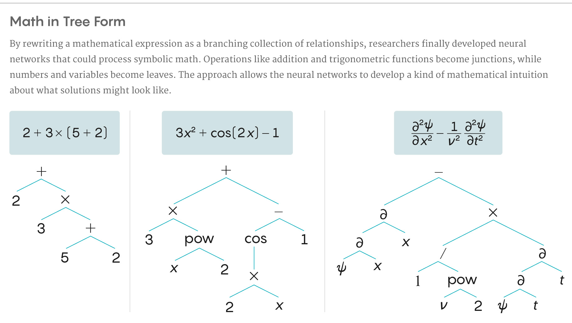 Brief illustration of how a new program translates symbolic math into a tree-like structure